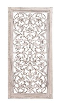 "51"" Shabby White Moroccan Leaf Wood Wall Art Panel French ..."