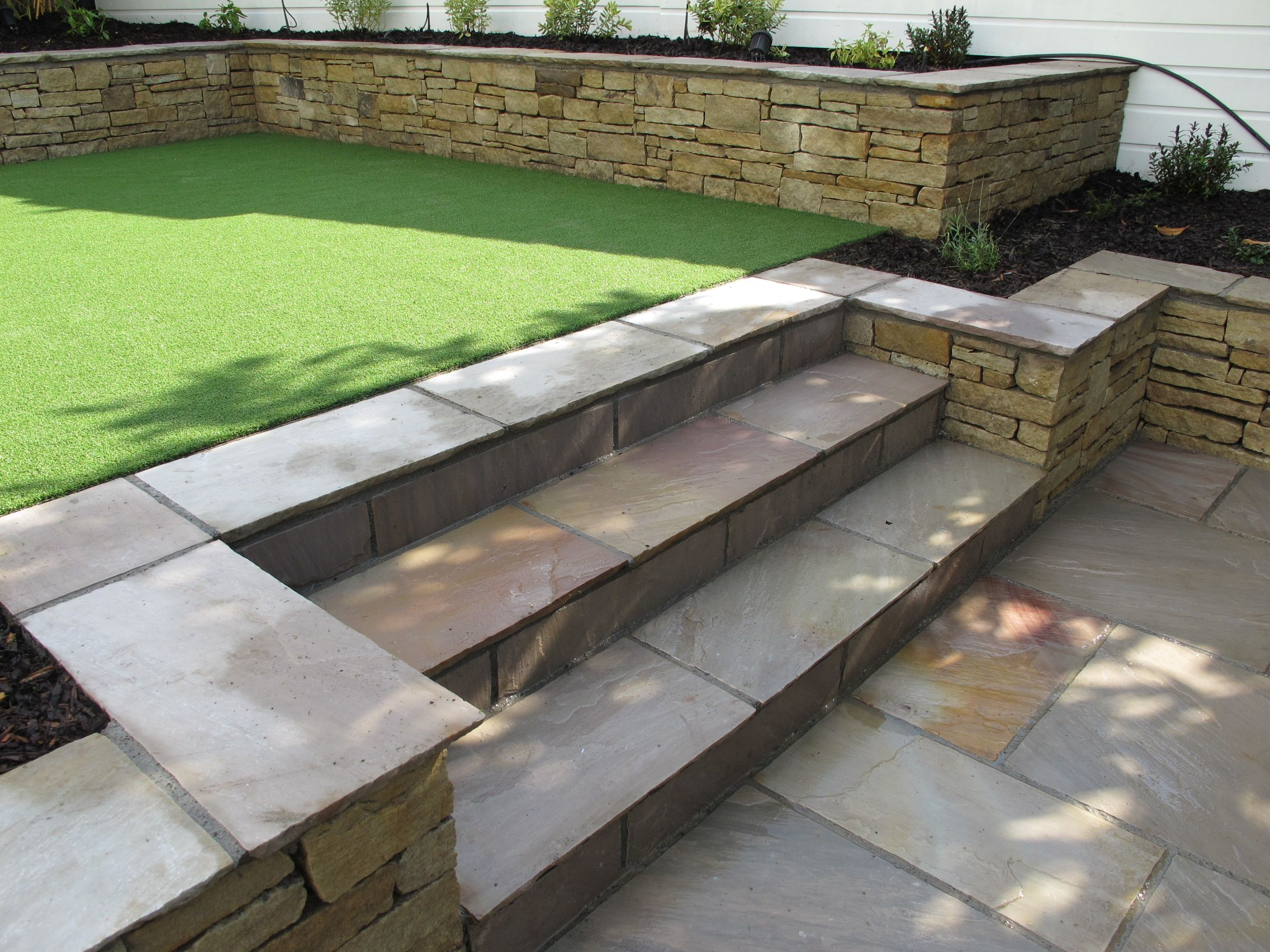 Split Level Low Maintenance Garden Scheme With Natural Sandstone