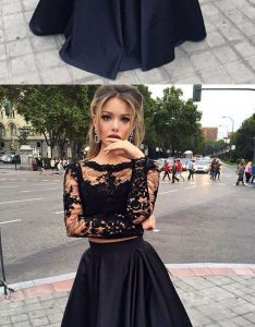 Long sleeves prom dresses black two pieces lace top and satin sheer crew neck special occasions gowns victorian style party dress also rh pinterest