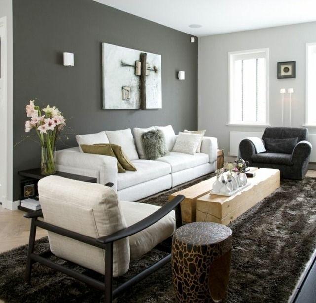 Wohnzimmer Wandfarbe Grau streichen Ideen modern  Wandfarbe Grau  Pinterest  Wandfarbe grau