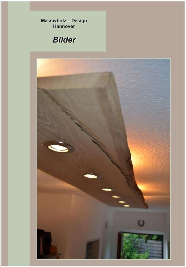 Massiv Holz Design Decken Lampe LED  Deckenlampen Decken und Lampen