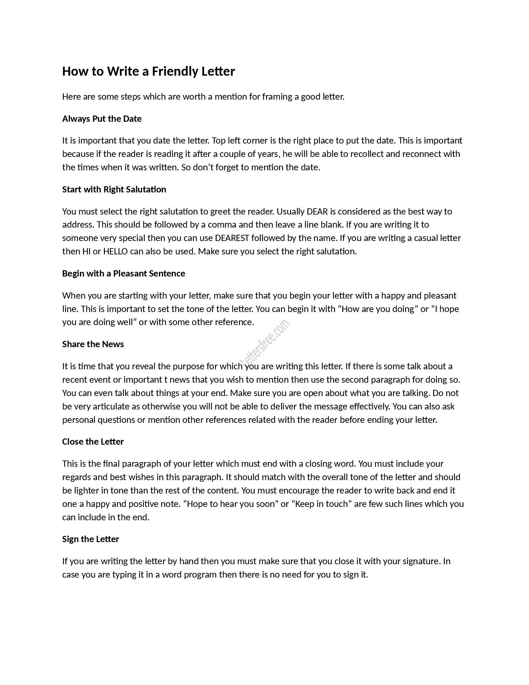 Friendly Letter Format Worksheet