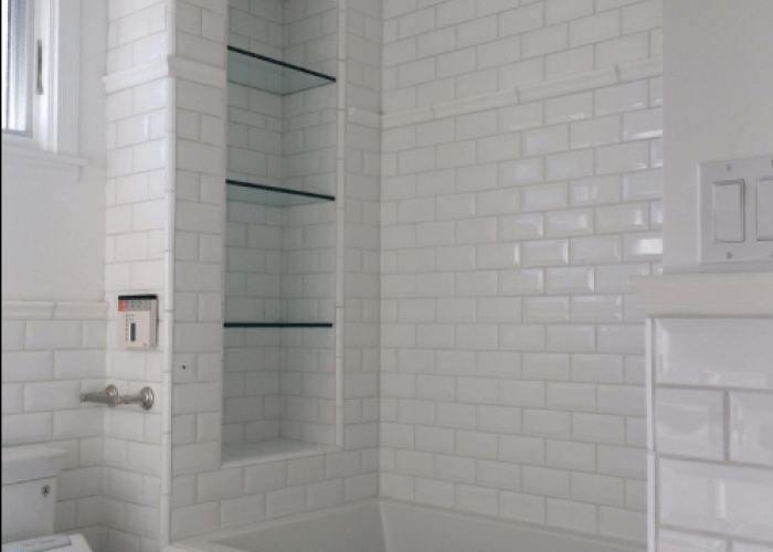 Tile shower shelves at end of bathtub large subway glass also
