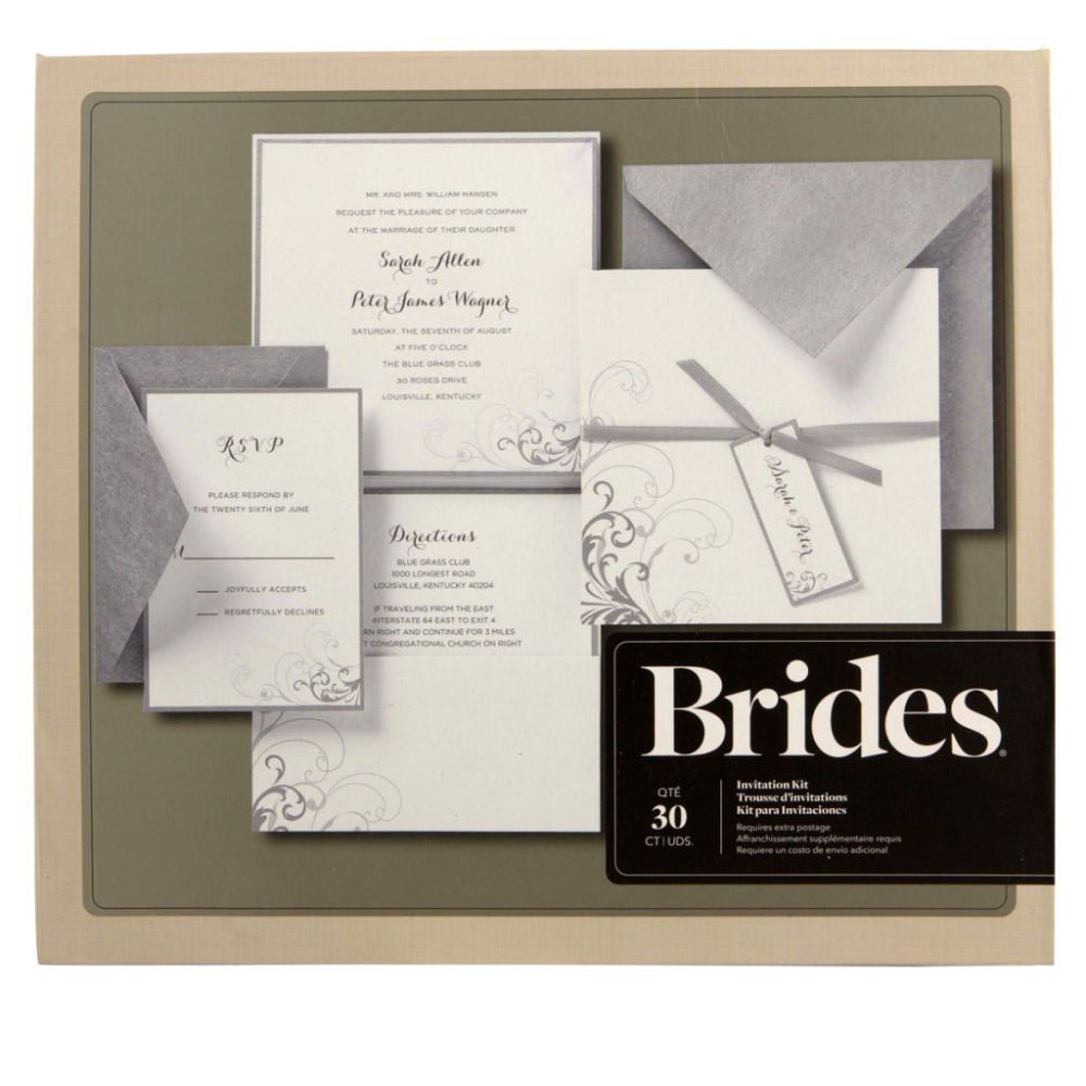 Brides Silver and White Pocket Invitation Kit  DIY