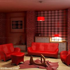 Red Living Room Set Bay Window Curtain Ideas Contemporary Design 17 Fire With Sofa