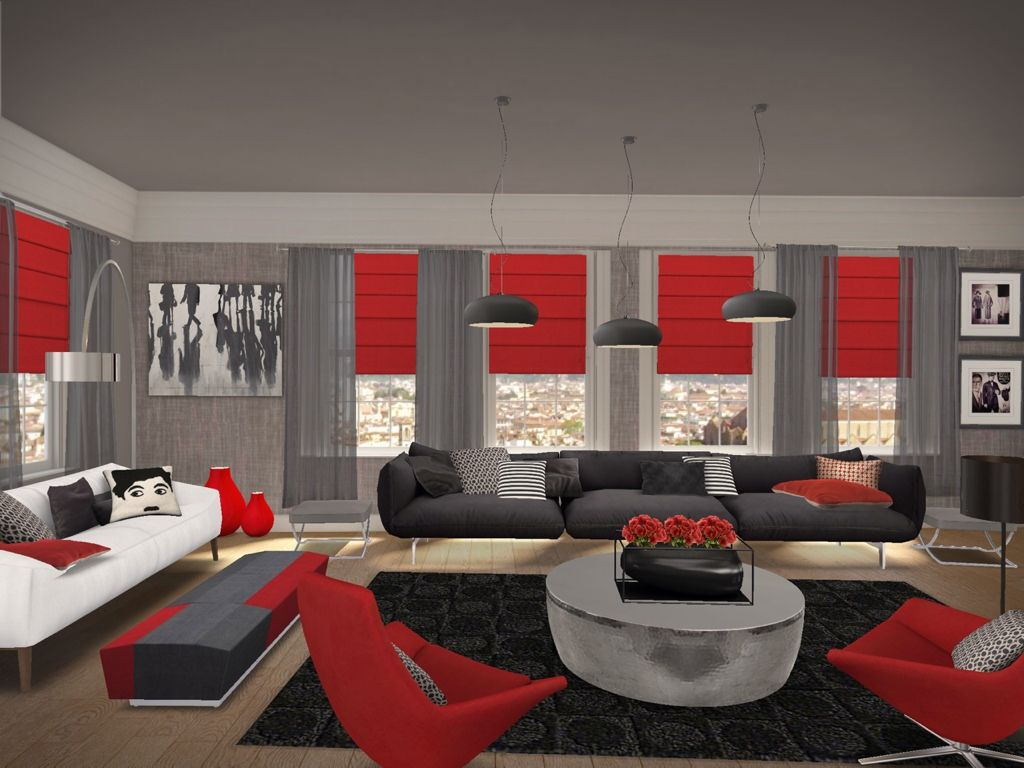 living rooms black red  Google Search  living rooms