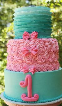 Ombr Teal Ruffles and Pink Rosettes Cake | Cakes ...