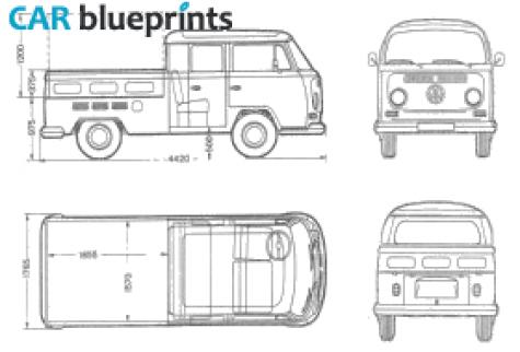 CAR blueprints / 1969 Volkswagen T2 A Crew Cab Pick-up