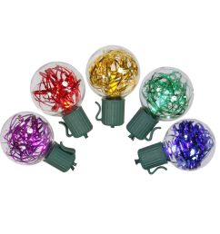 set of 25 multi colored led g40 tinsel christmas lights green wire [ 1000 x 1000 Pixel ]