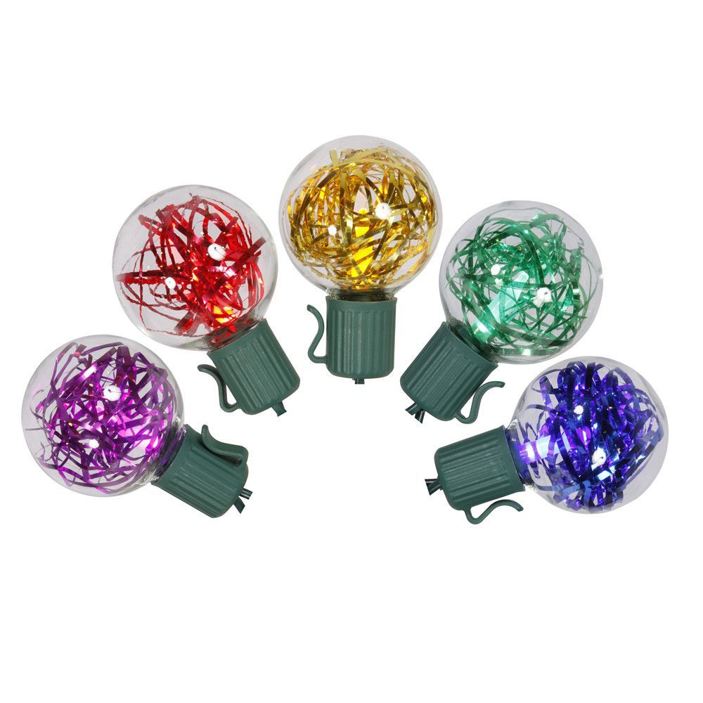 hight resolution of set of 25 multi colored led g40 tinsel christmas lights green wire