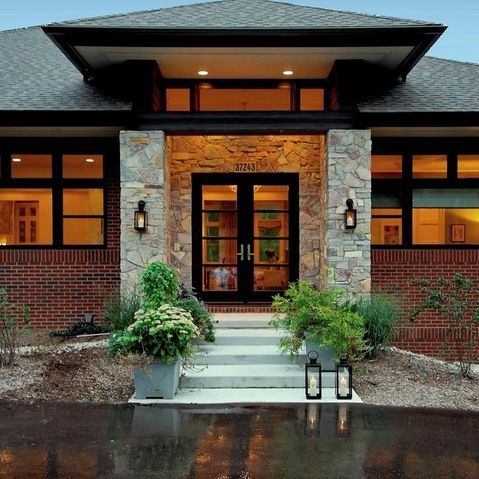 Ranch Home With Hip Roof And Covered Entrance Design Ideas