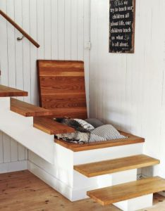 Cool log bench with crimson pillow design ideas white under stair storage idea plus recessed light along compact stairs and also clever may as well interiors pinterest rh