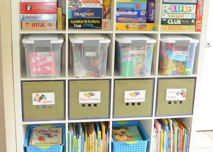 tips to organizing  kids play room this is ikea expedit shelving in also
