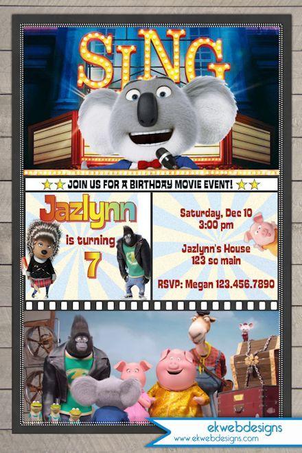 Sing Movie Birthday Invitation Illumination Sing Movie