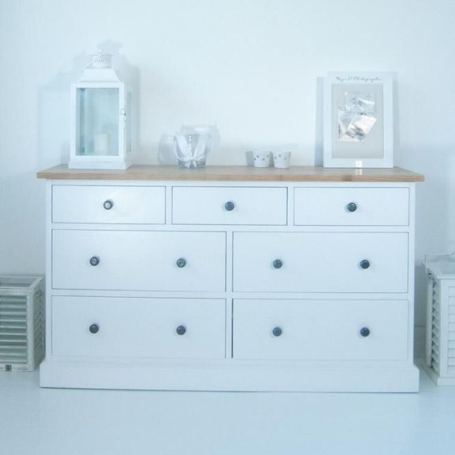 Maine Large White Chest Of Drawers With Ash Top