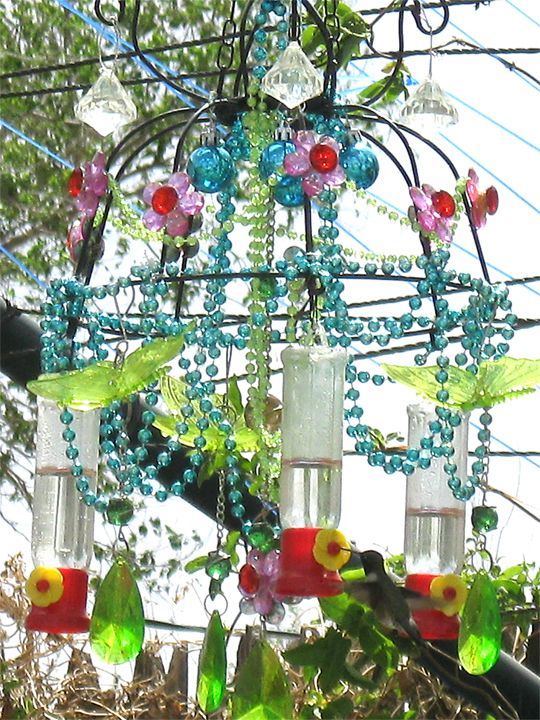 My Diy Chandelier Hummingbird Feeder I Made It From 2 Wire Plant Hangers They