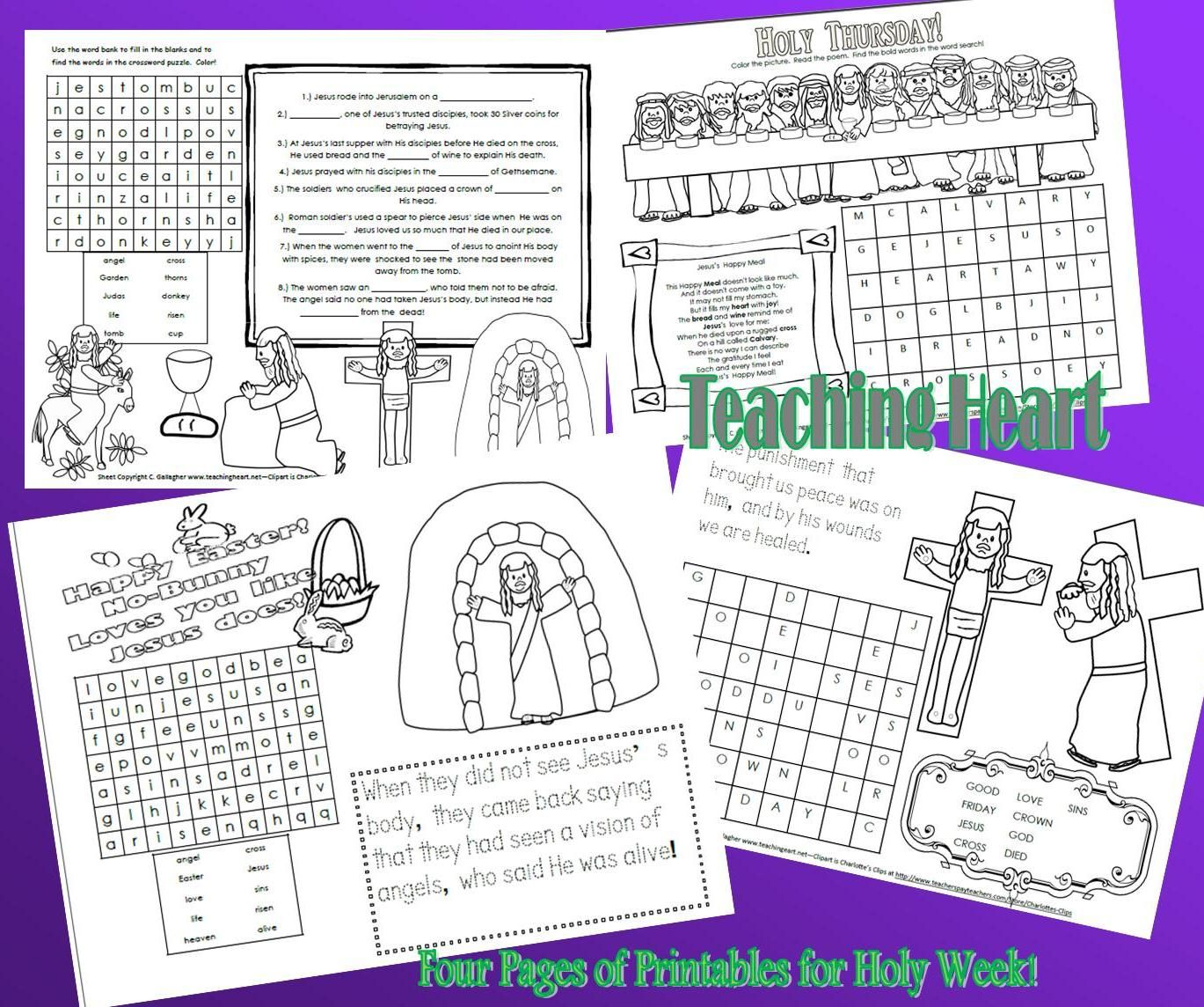 4 Printable Activity Sheets For Holy Week And Easter Holyweekprintablesteachingheartpic
