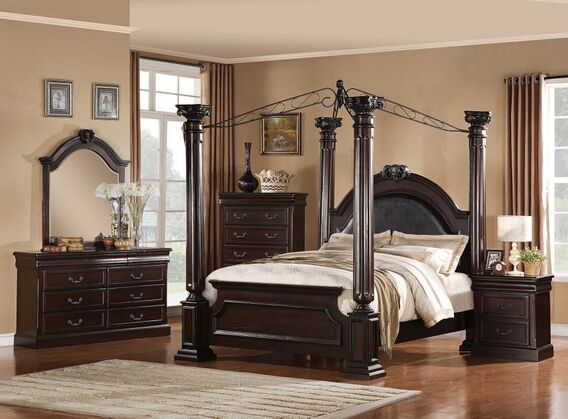 5 Pc Roman Empire Ii Collection Dark Cherry Finish Wood Queen 4 Poster Bedroom Set With
