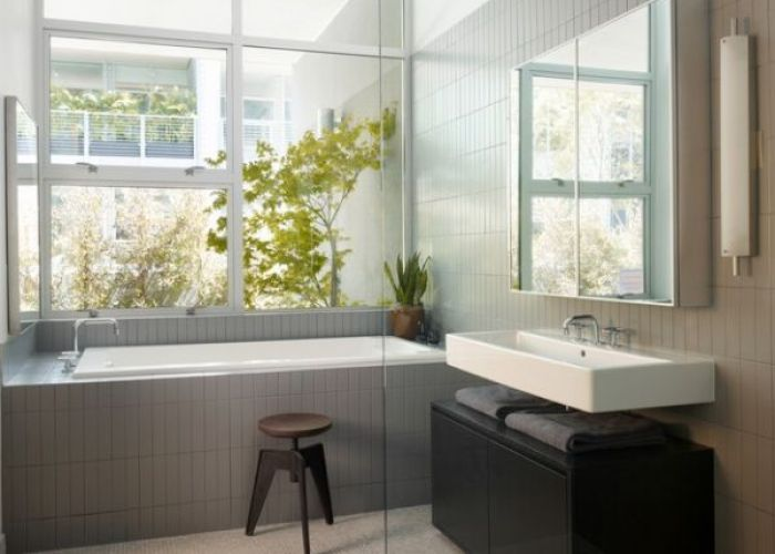 Interior design modern bathroom grey amrble floor chair sink mirror tile wall black cabinet bath tube plant and outdoor view chic apartment also designs compact white floating set in the of