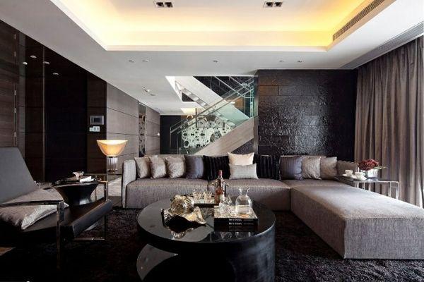 luxus wohnzimmer dunkle farben graues sofa dekokissen rundtisch  house  Pinterest  More Sofa