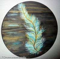 feather painting, gold and turquoise, feather wall art ...