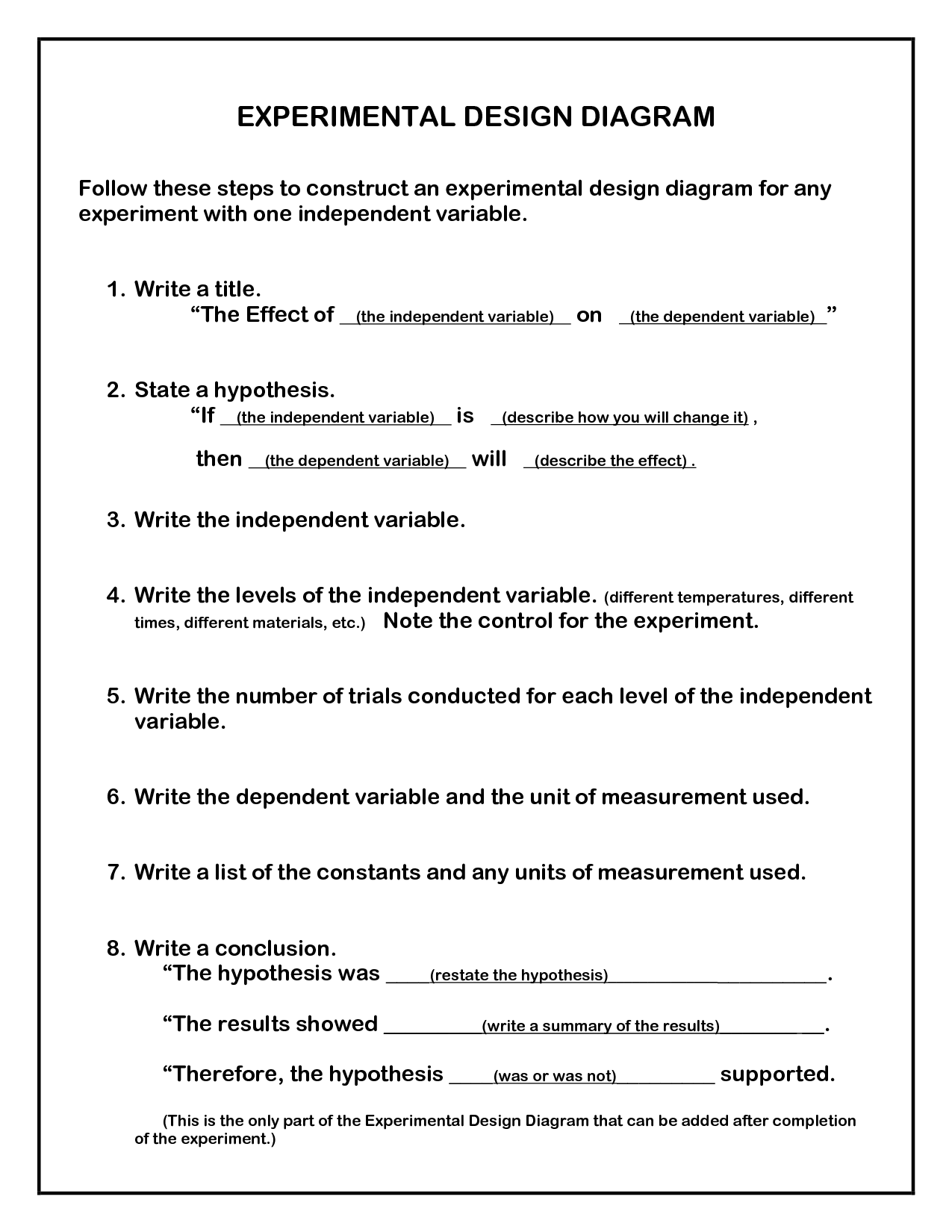 Worksheet Experimental Design
