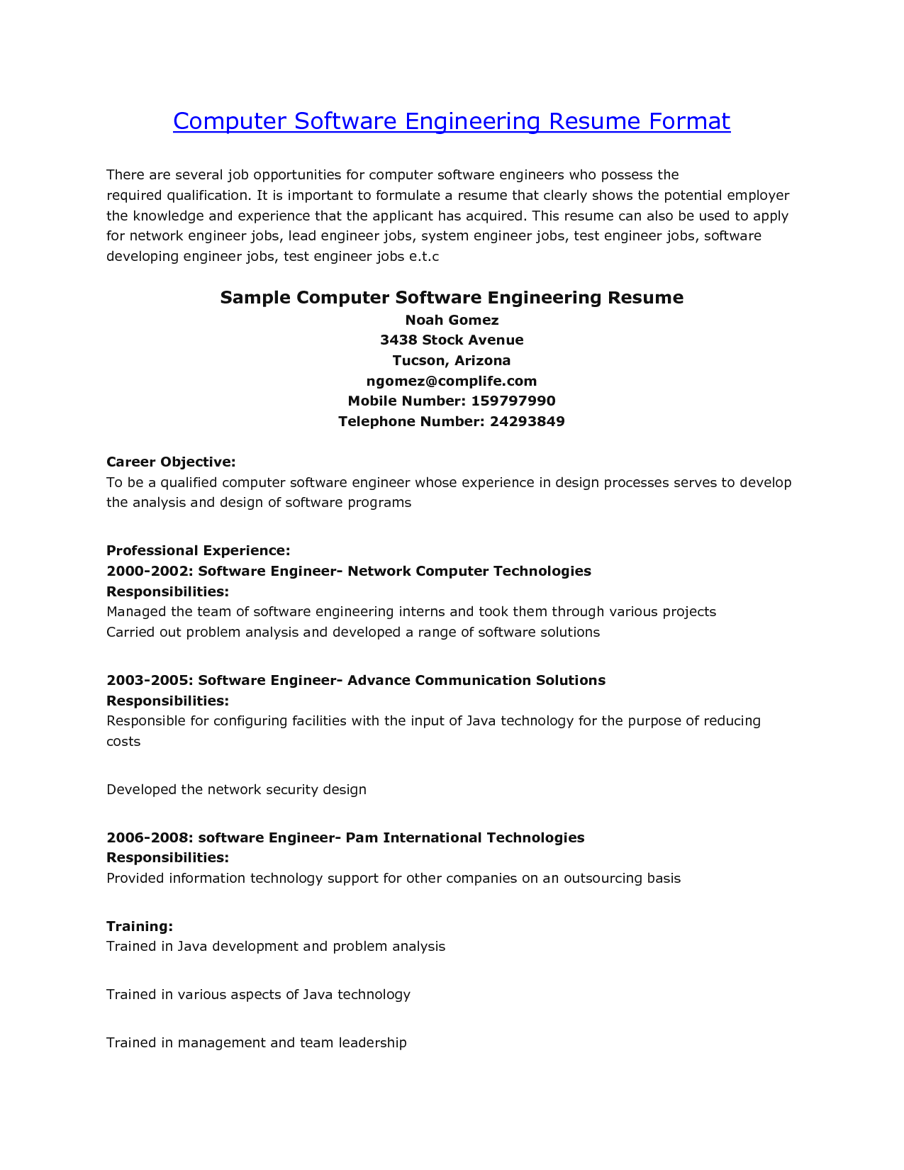 sample computer engineering resume resumecareer info - Computer Software Experience Examples