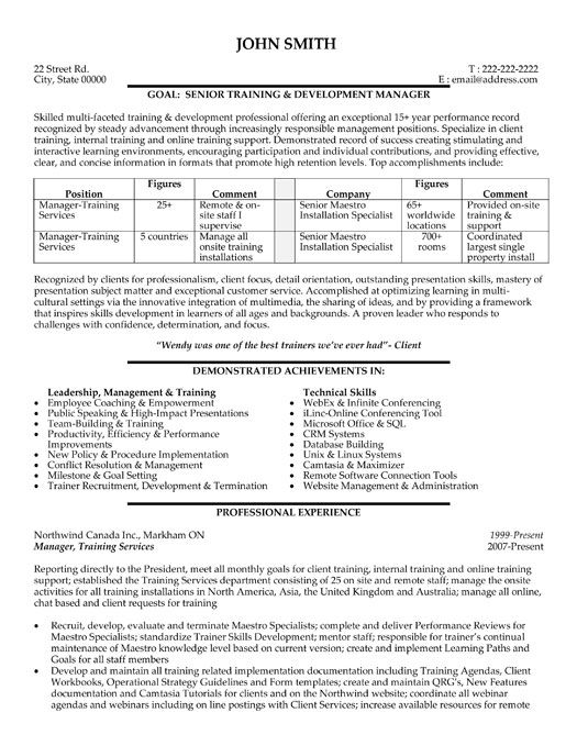 Training Manager Resume Unforgettable Personal Trainer Resume