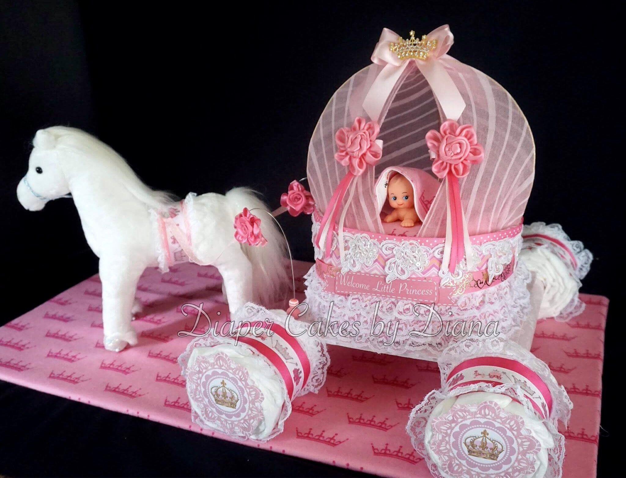 Princess Horse And Carriage Diaper Cake Facebook