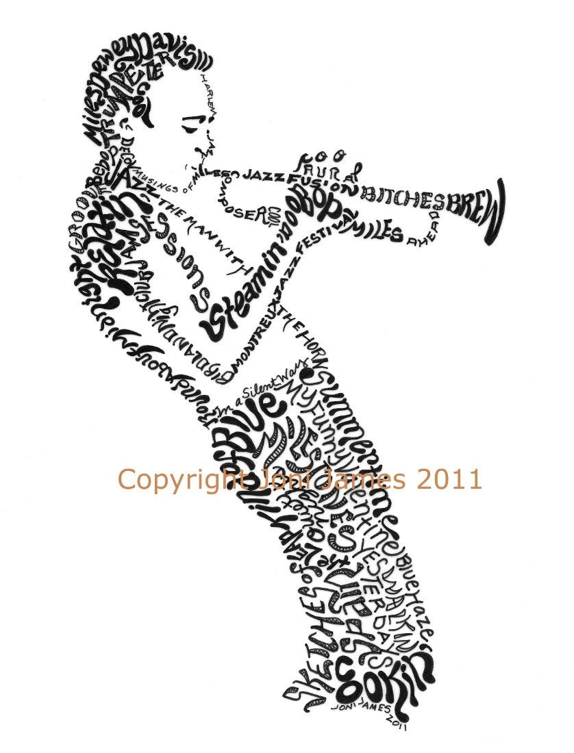 Portrait of Miles Davis Word Art Drawing, Jazz Musicians