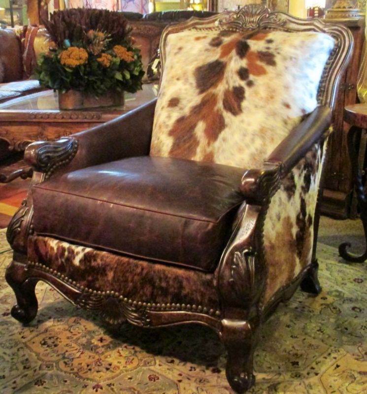 The Buckley Chair and Ottoman Great cowhide and leather