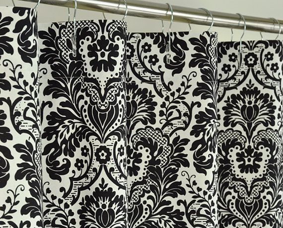 Black Damask Shower Curtain 72 X 72 Black & Off By PondLilly