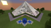 Minecraft Glass Pyramid House Creation Fountain Modern