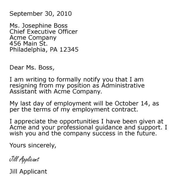 Cover Letter Format For Resignation  http