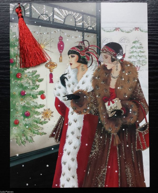 Clintons Art Deco Lady Embellished Christmas Cards
