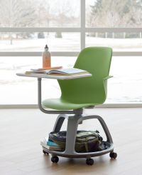 school+desk+with+attached+chair+and+wheels   Steelcase ...