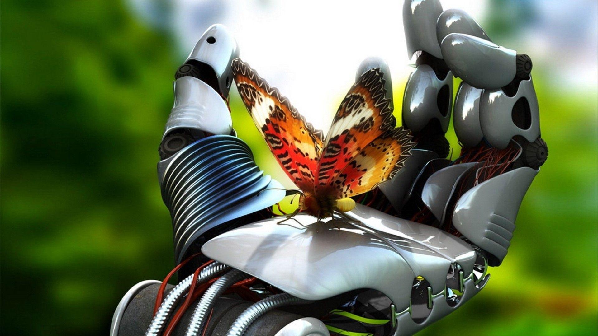 robot hand butterfly 3d wallpaper images full hd free #78928828884
