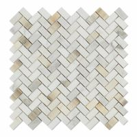 Calacatta Gold Marble Polished Mini Herringbone Mosaic ...