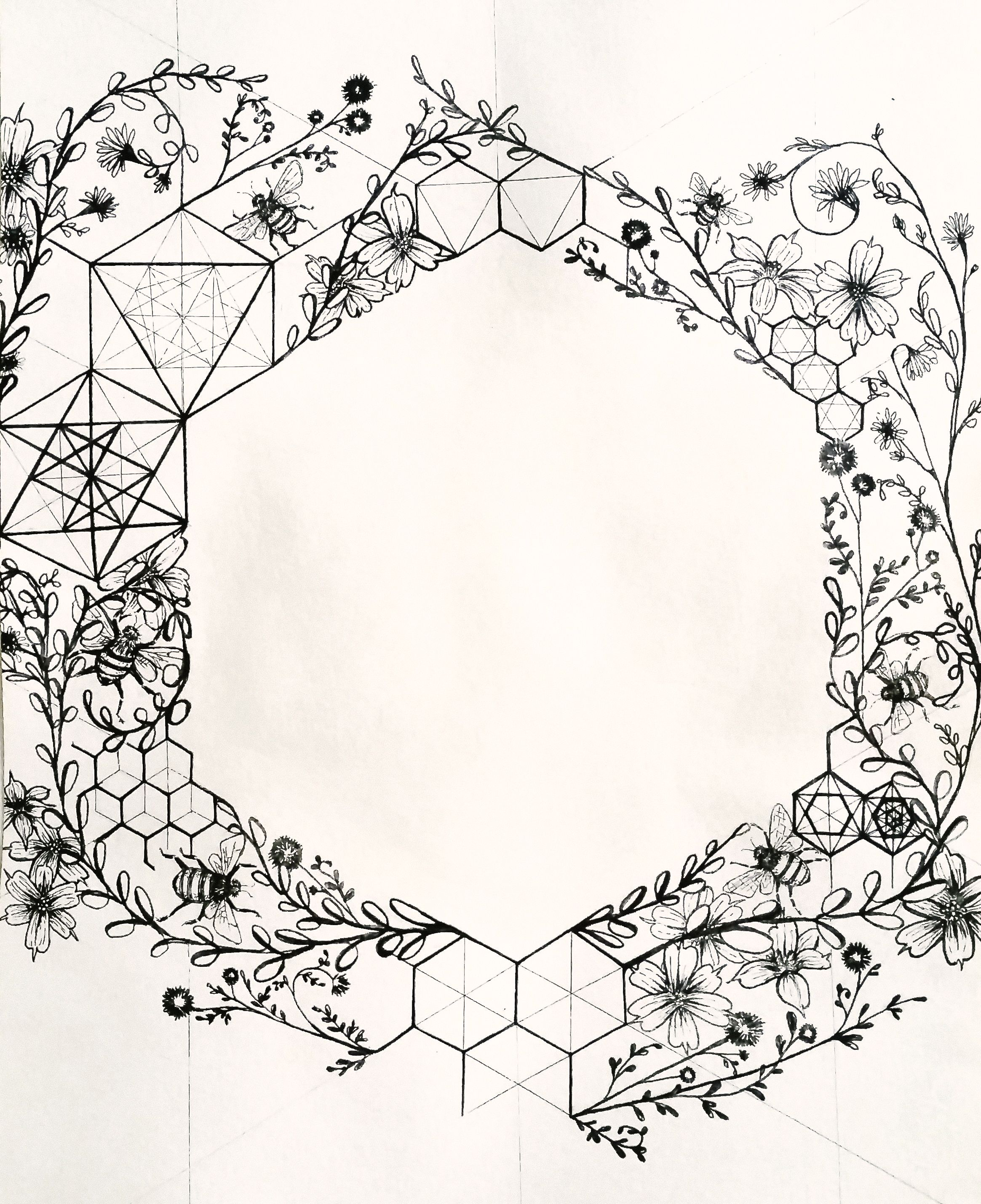 The Hexagon Honeybee S Sacred Structure Illustration By