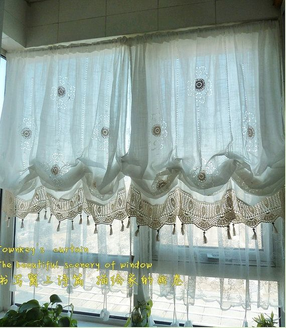 White Lace Crochet Balloon Shade Austrian Pull Up Adjustable Sheer