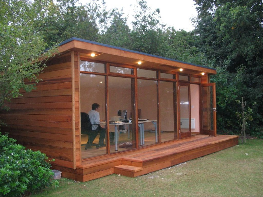 Outdoor Artistic And Lovely Wood Shed Office Design Wooden