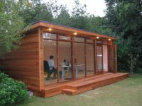 Outdoor , Artistic and Lovely Wood Shed Office Design