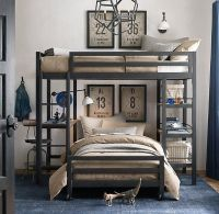 Industrial Loft Twin Study Bunk Bed With 1 Desk | Boys ...