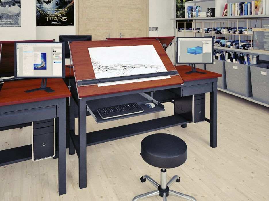 Awesome Black Wood Drafting Table Computer Desk with Right