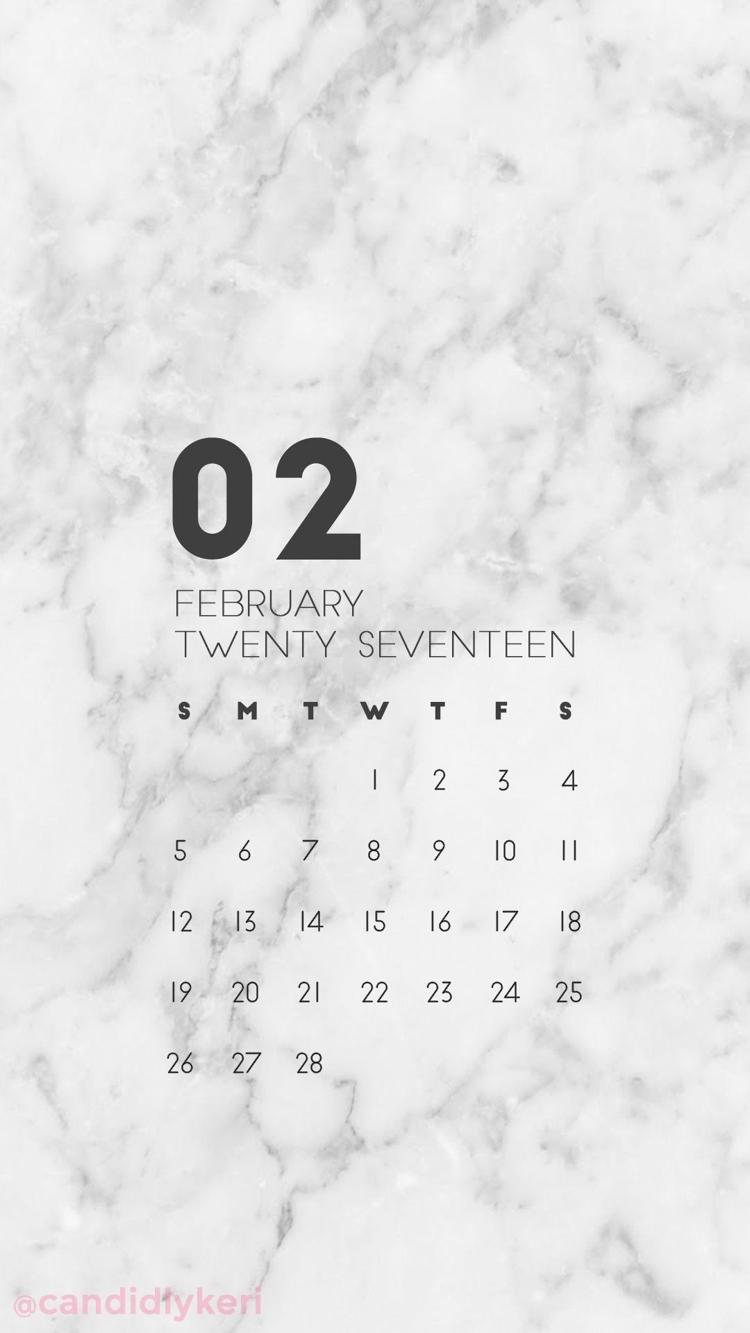 Marble Organized Clean February Calendar Wallpaper