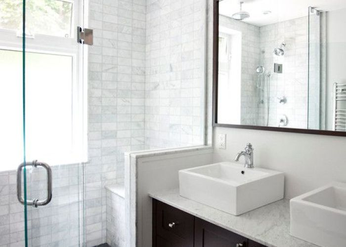 Clean lines dual vessel sinks white grey tile and dark wood home ideas pinterest tiles sink also