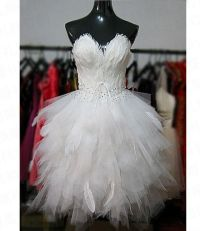 Stella free shipping gown Customize short design feather ...