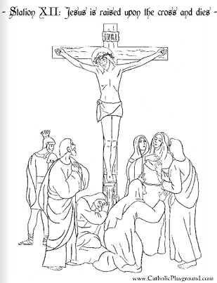 Coloring page for the Twelfth Station of the Cross: Jesus
