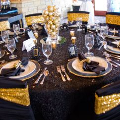 Black Glitter Chair Covers Mid Century Leather Ruched Cover With Gold Sequin Spandex