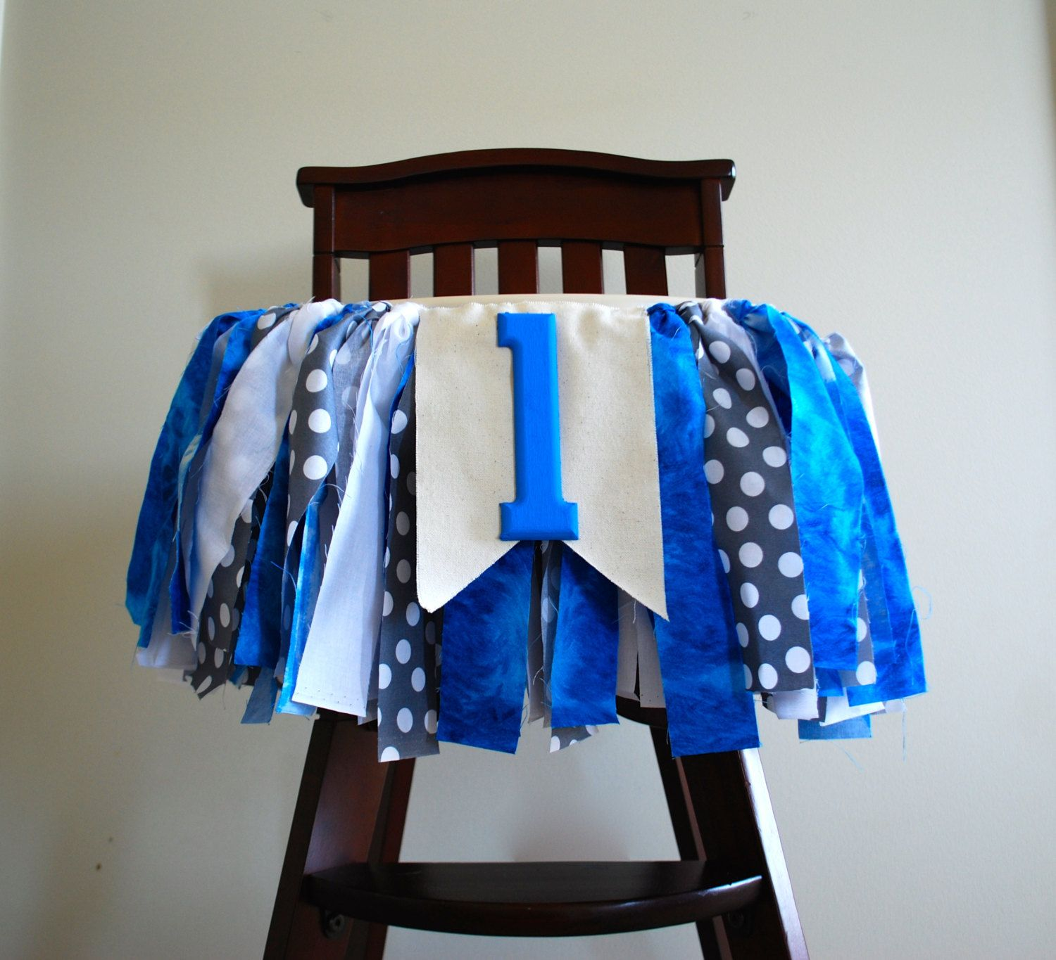 Boy High Chairs Little Man High Chair Rag Tie Fabric Bunting 1st Birthday